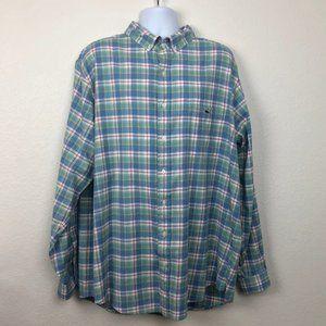 VINEYARD VINES XLT Blue & Green Flannel Shirt E10